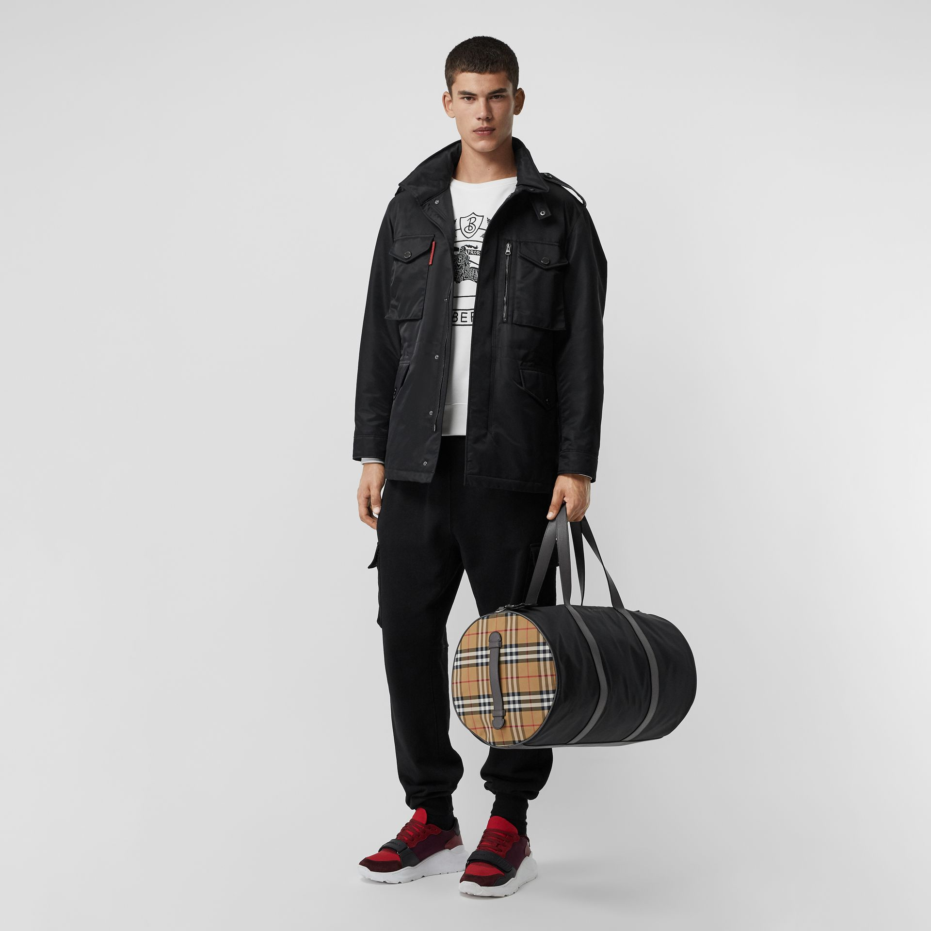 Large Nylon and Vintage Check Barrel Bag in Black - Men | Burberry Australia - gallery image 2