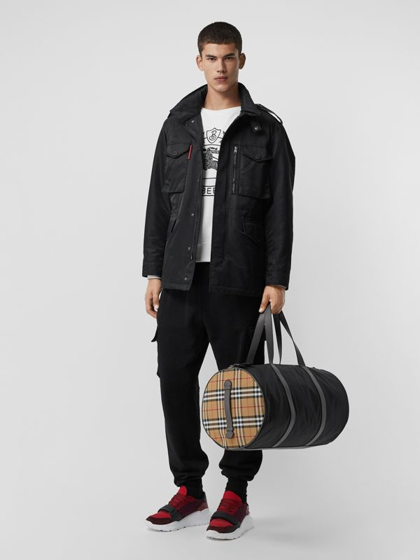 Large Nylon and Vintage Check Barrel Bag in Black - Men | Burberry Australia - cell image 2