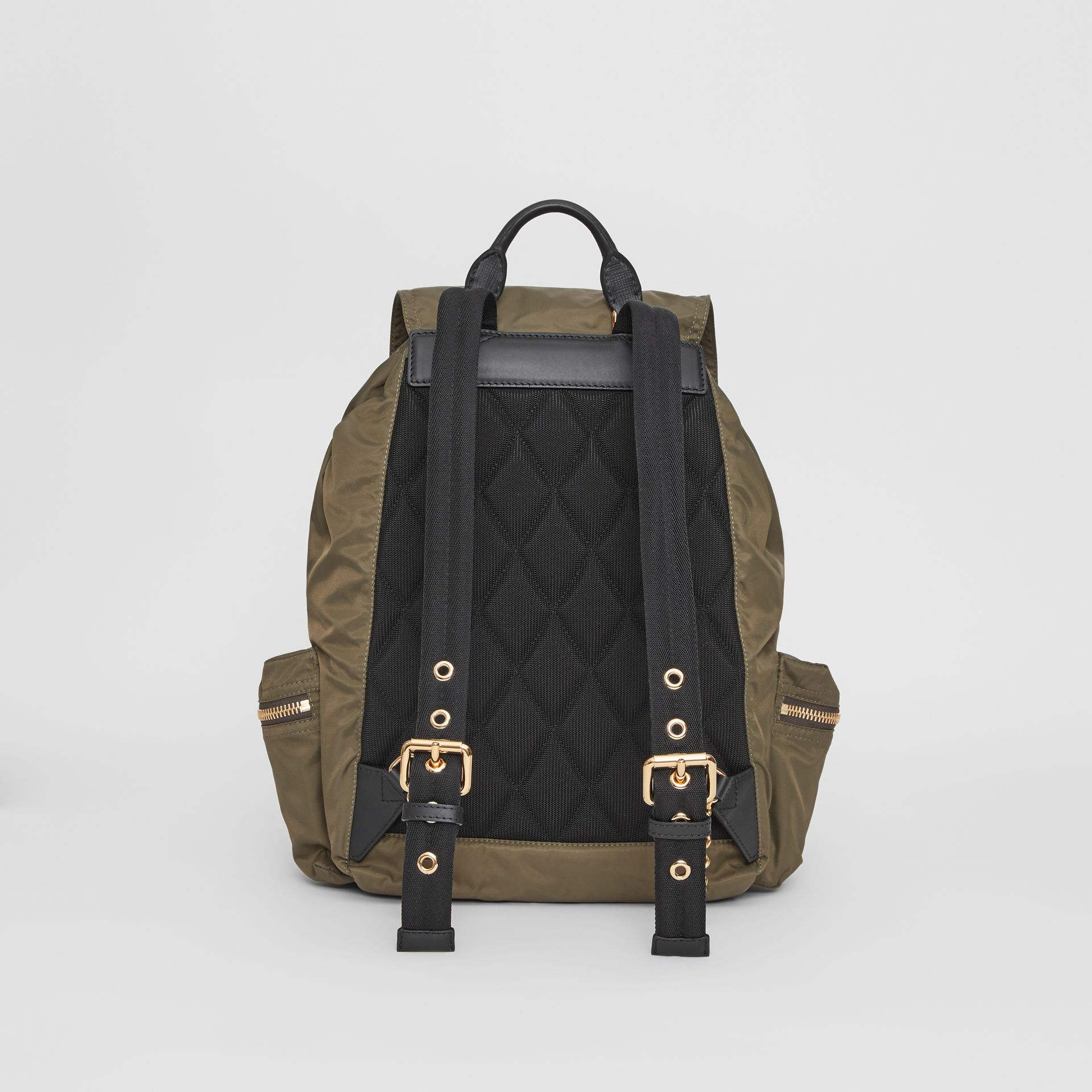 The Large Rucksack in Technical Nylon and Leather in Canvas Green - Women | Burberry Singapore - gallery image 5