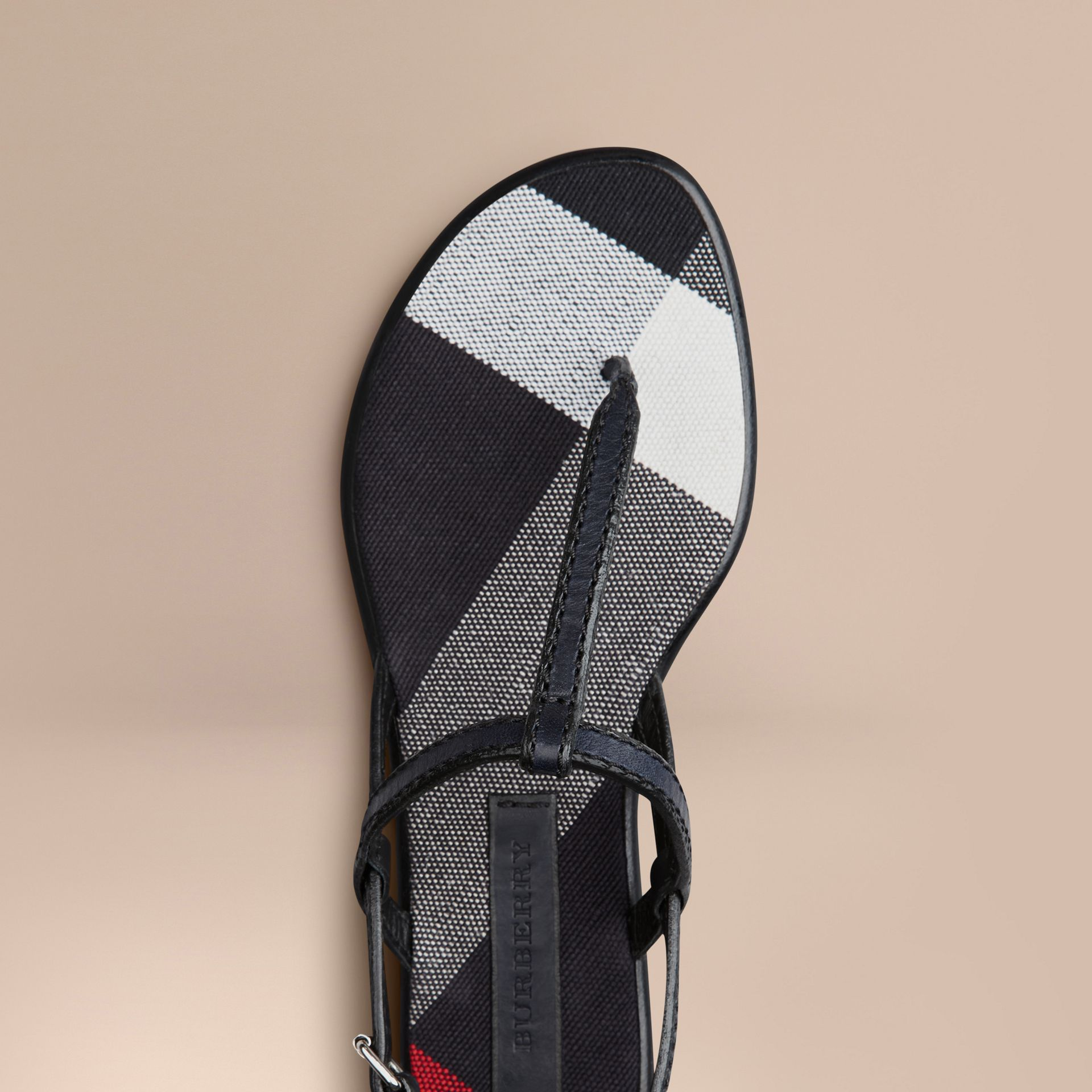 Navy Canvas Check and Leather Sandals Navy - gallery image 4