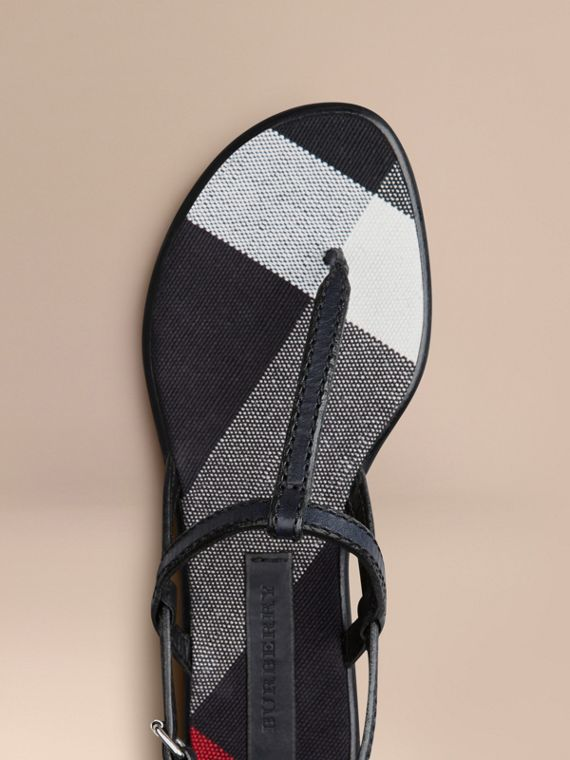 Navy Canvas Check and Leather Sandals Navy - cell image 3