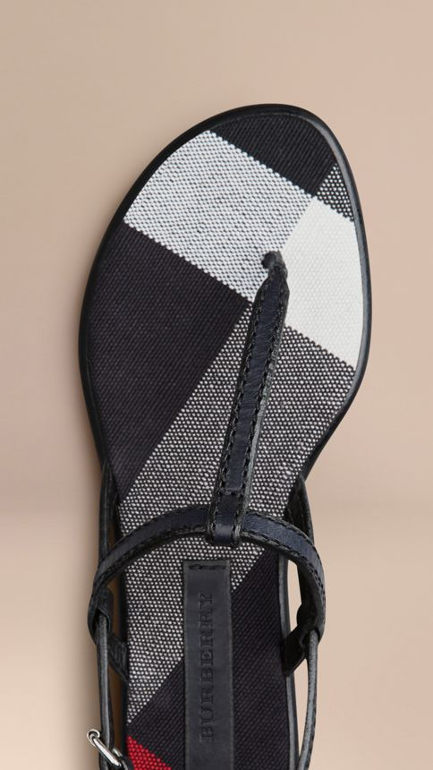 Navy Canvas Check and Leather Sandals Navy - Image 4