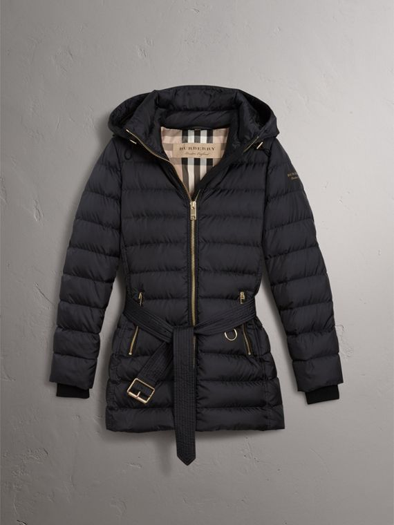 Hooded Down-filled Puffer Jacket in Navy - Women | Burberry - cell image 3