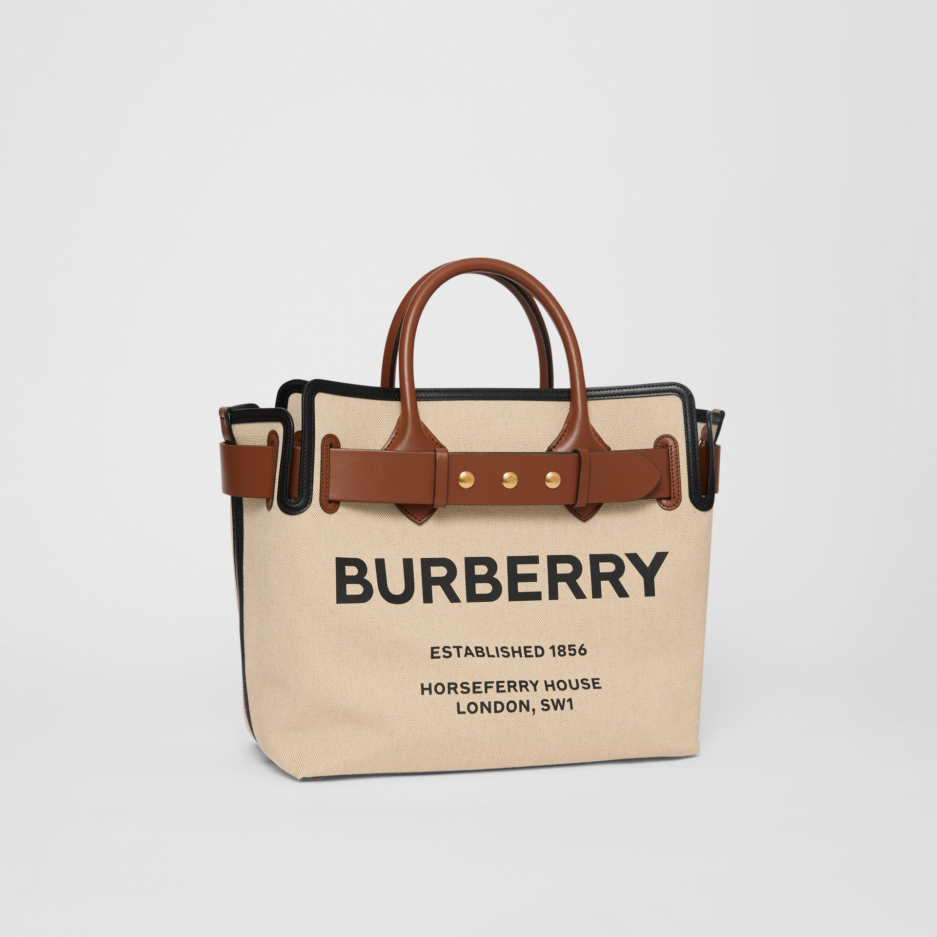 The Medium Cotton Canvas Triple Stud Belt Bag in Malt Brown/black - Women | Burberry Australia - gallery image 6