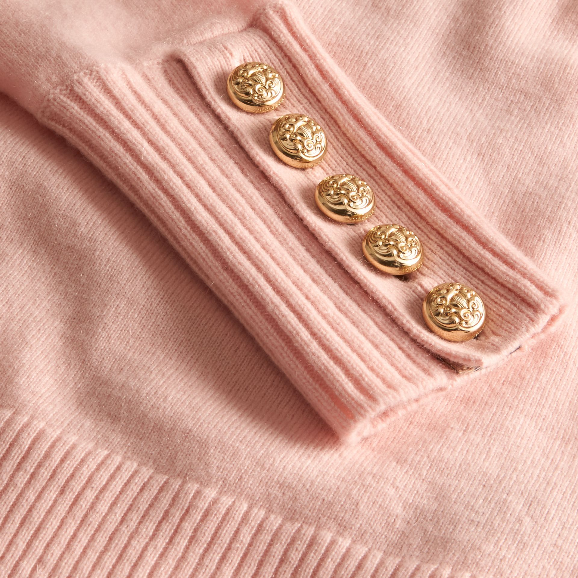 Cashmere Sweater with Crested Buttons in Blossom - gallery image 2