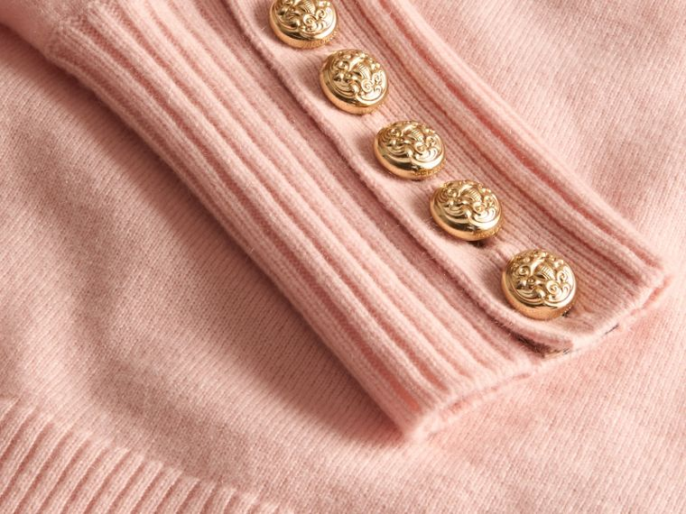 Cashmere Sweater with Crested Buttons in Blossom - cell image 1