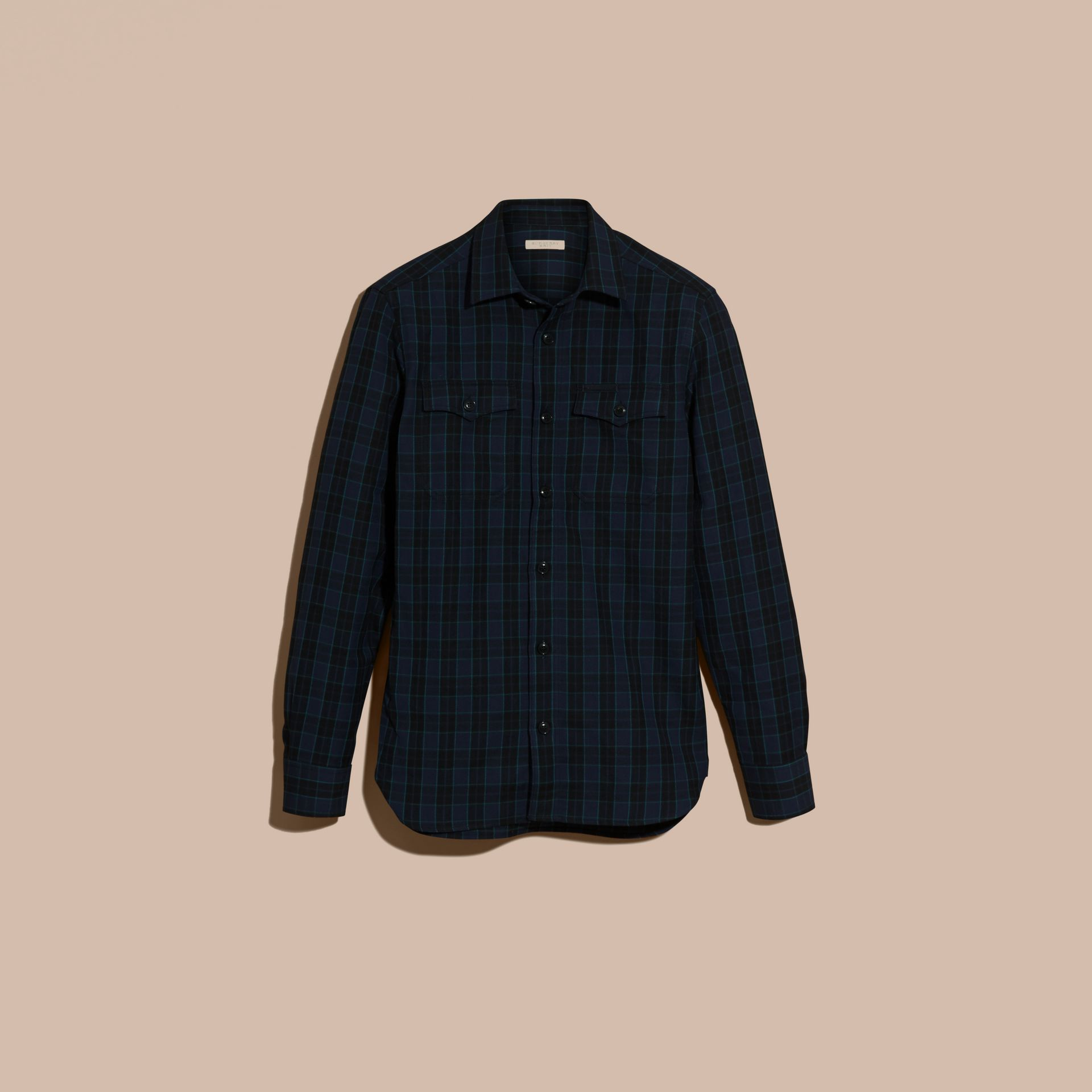 Bright navy Black Watch Check Wool Blend Shirt Bright Navy - gallery image 4