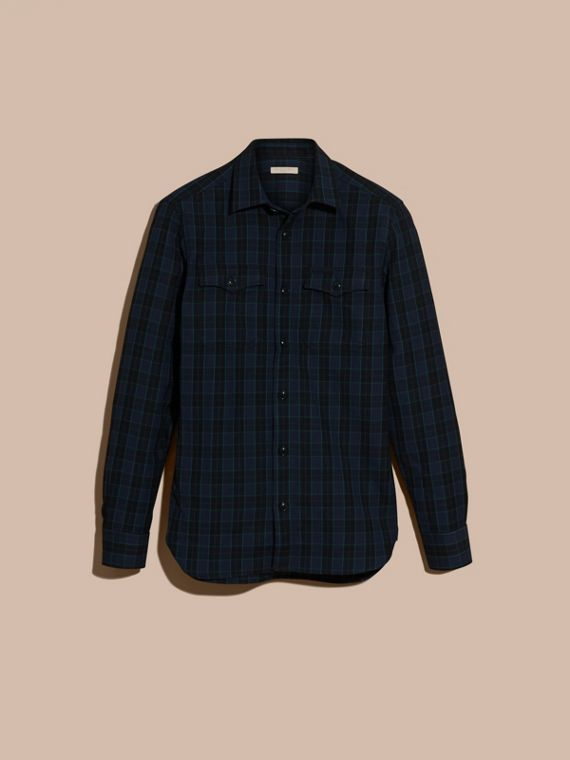Bright navy Black Watch Check Wool Blend Shirt Bright Navy - cell image 3