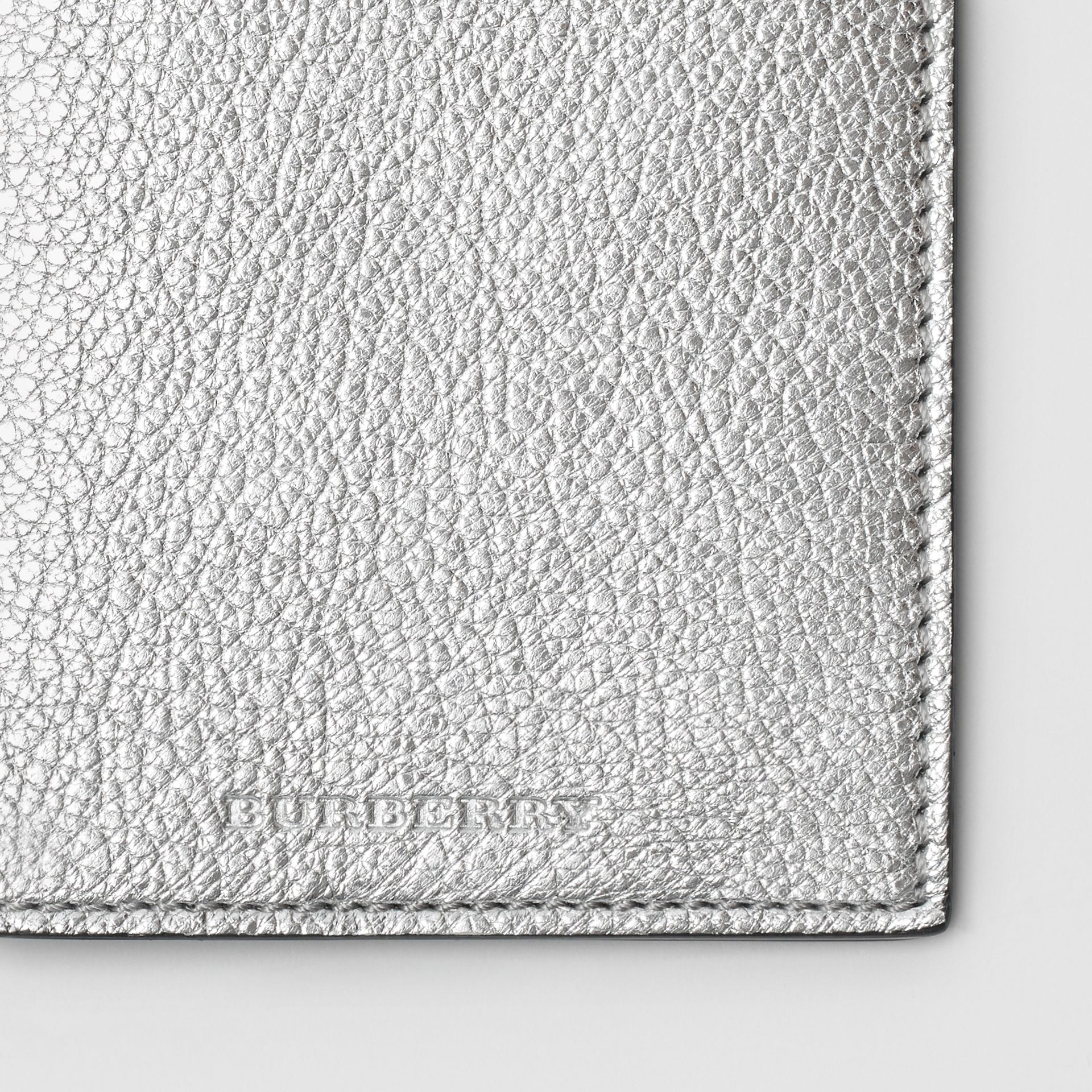 Metallic Leather Passport Holder in Silver - Women | Burberry United Kingdom - gallery image 1