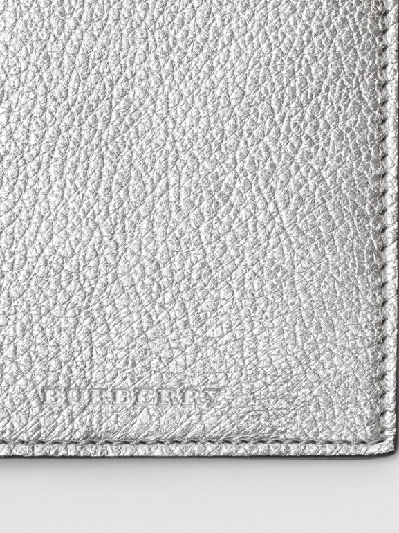 Metallic Leather Passport Holder in Silver - Women | Burberry United Kingdom - cell image 1