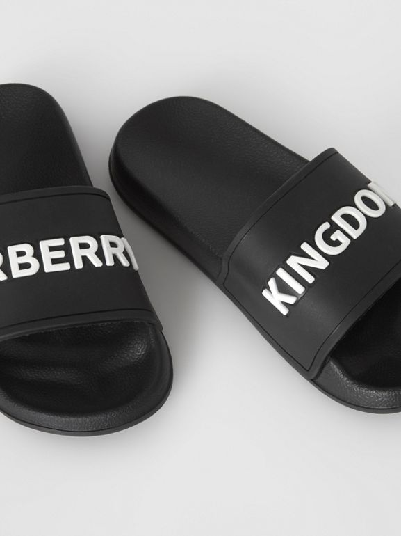 Kingdom Motif Slides in Black/optic White - Children | Burberry Canada - cell image 1