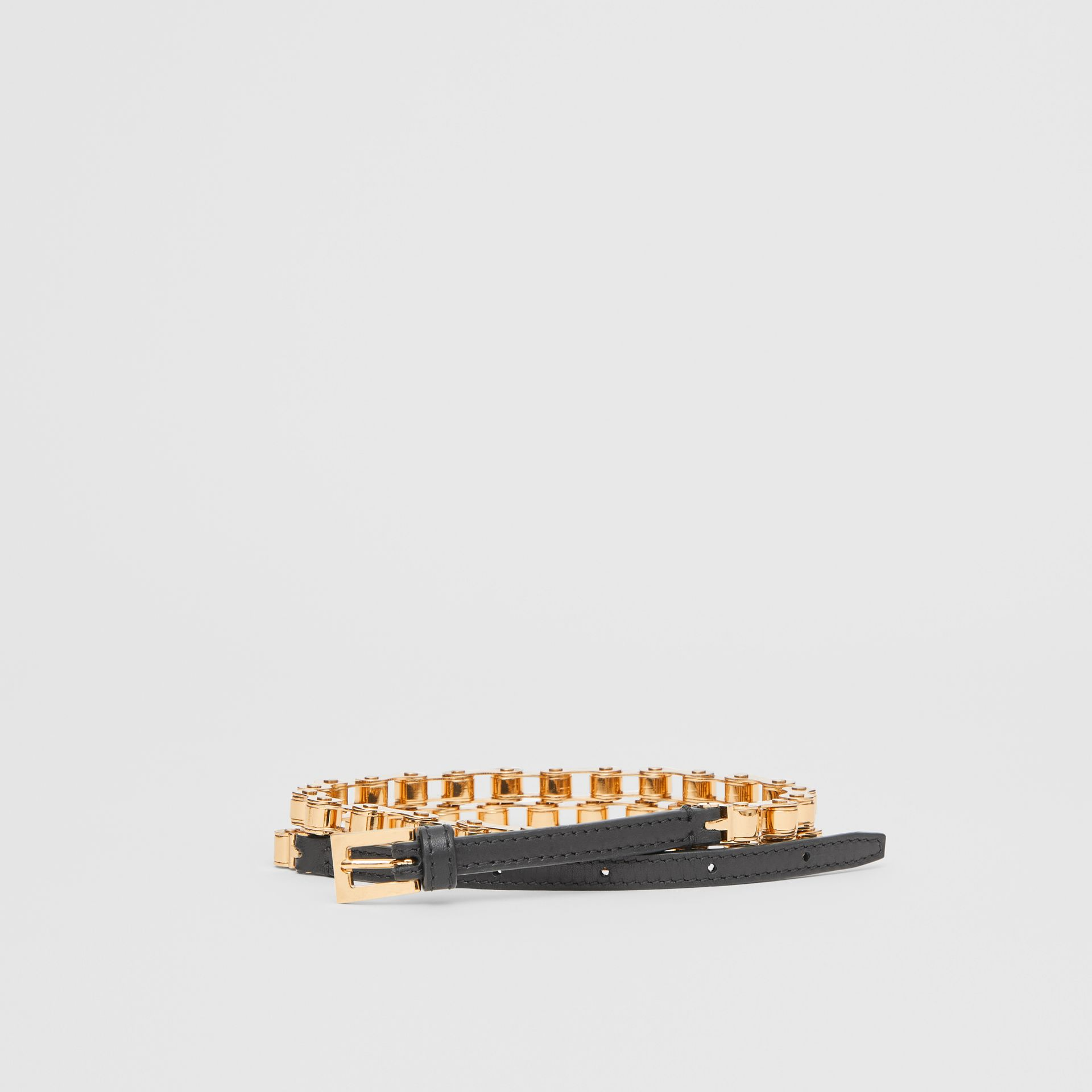 Leather and Bicycle Chain Belt in Black - Women | Burberry - gallery image 0