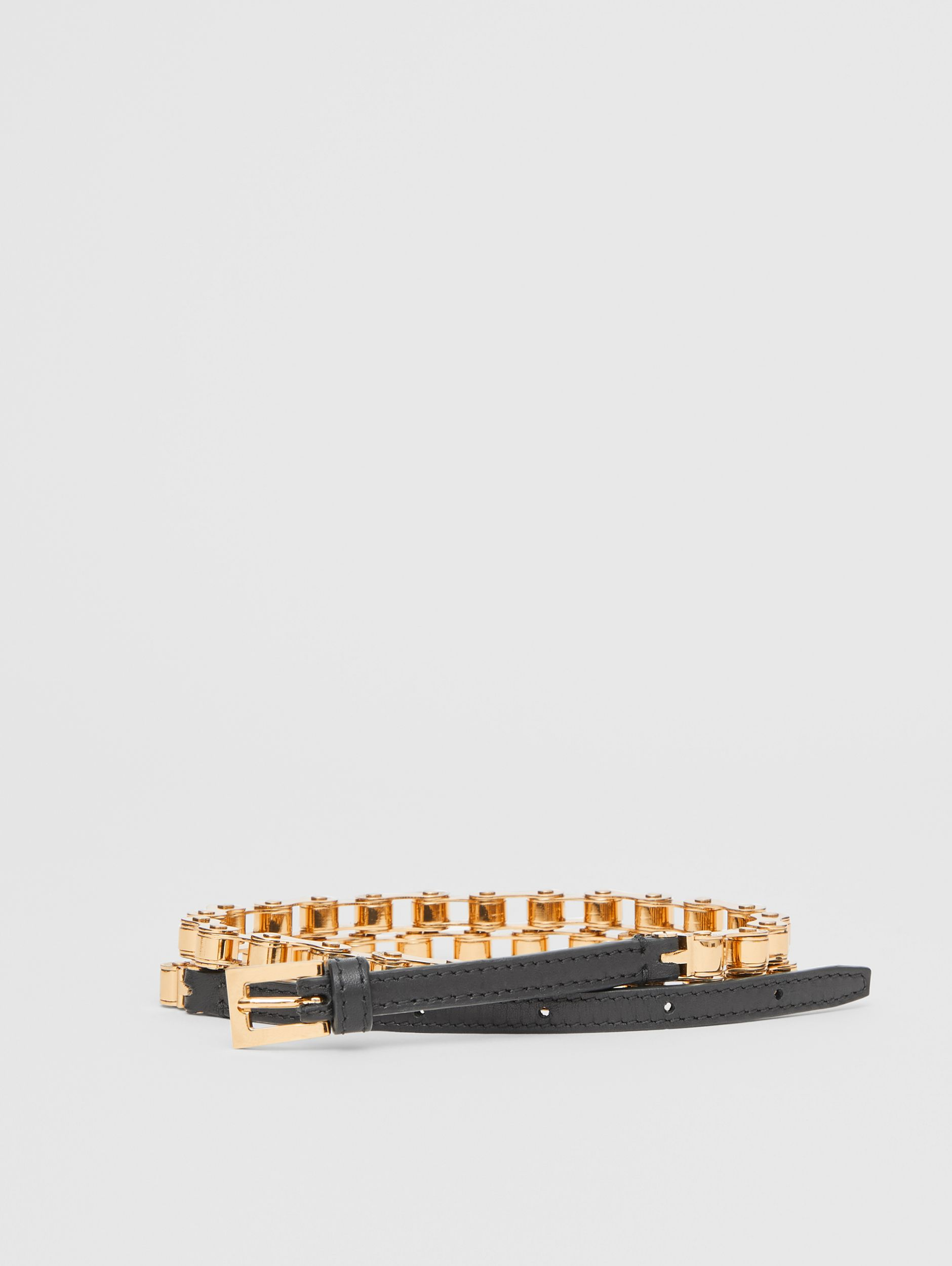 Leather and Bicycle Chain Belt in Black - Women | Burberry - 1