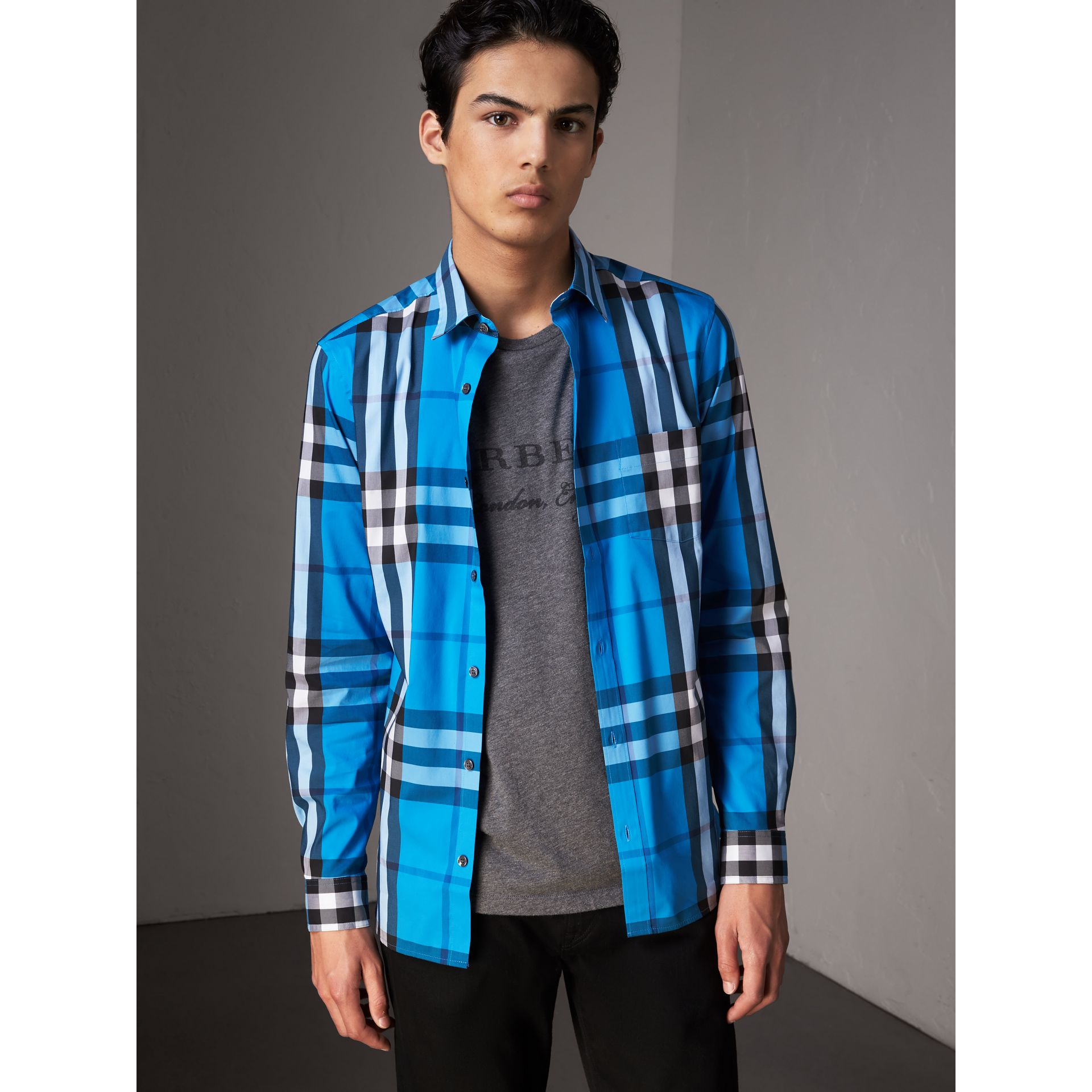 Check Stretch Cotton Shirt in Bright Blue - Men | Burberry Australia - gallery image 4