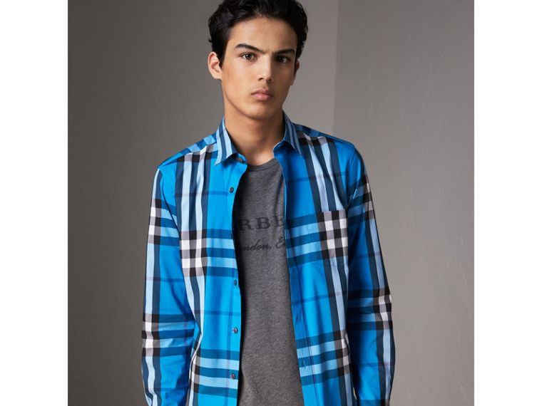 Check Stretch Cotton Shirt in Bright Blue - Men | Burberry Singapore - cell image 4