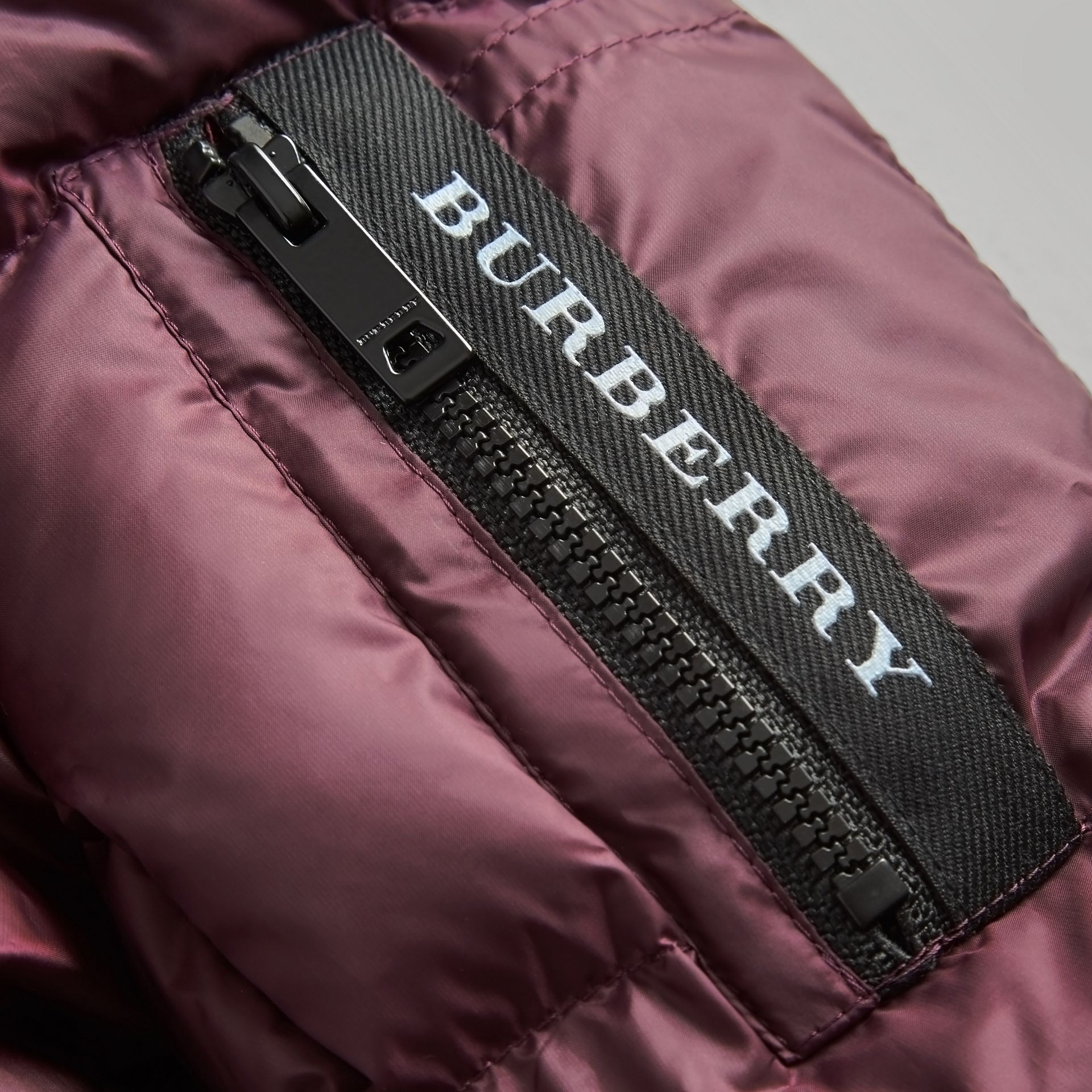 Detachable Hood Down-filled Puffer Coat in Beetroot | Burberry Australia - gallery image 1