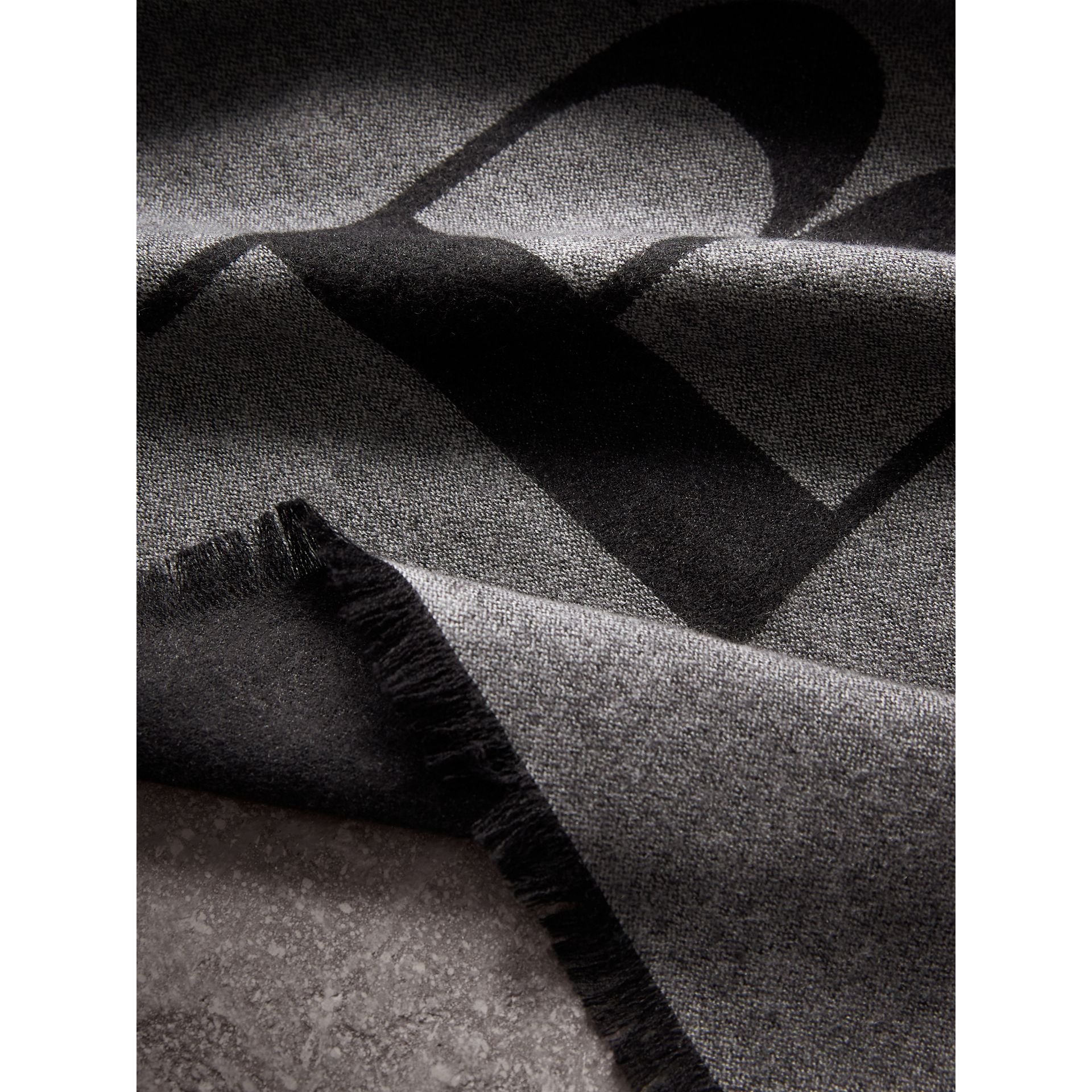 Graphic Print Motif Cashmere Wrap in Mid Grey - Women | Burberry - gallery image 2