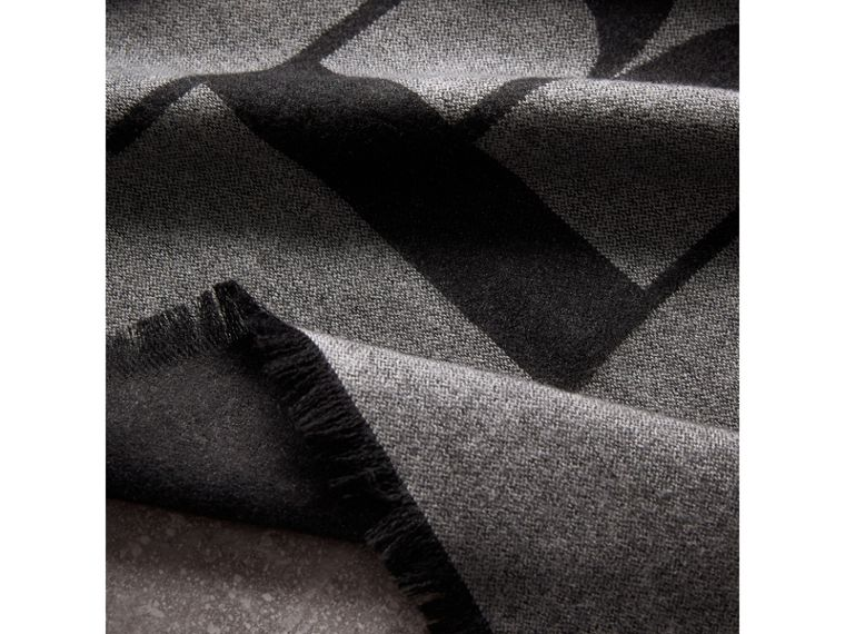 Graphic Print Motif Cashmere Wrap in Mid Grey - Women | Burberry - cell image 1