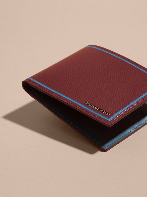 Burgundy red Border Detail London Leather Folding Wallet Burgundy Red - cell image 3