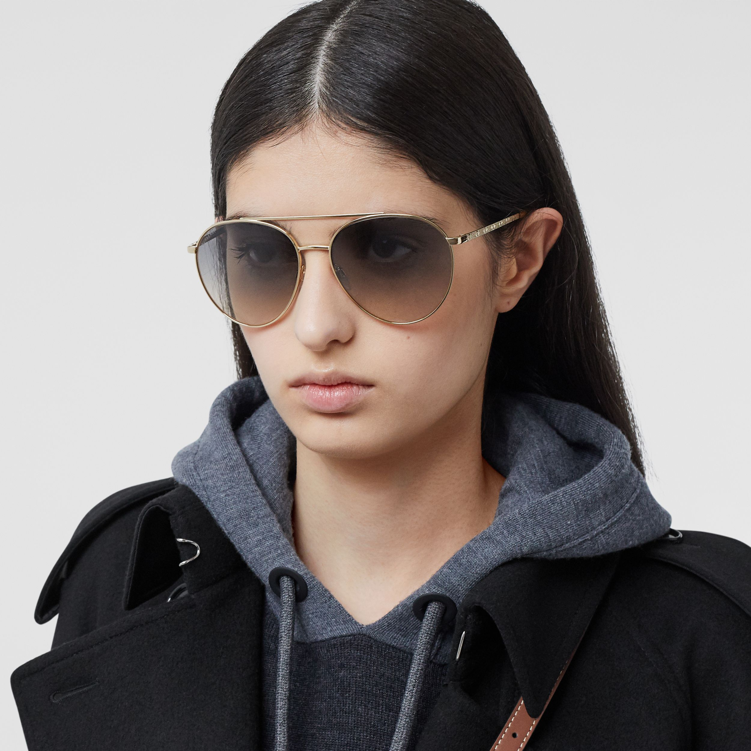 Pilot Sunglasses in Brown - Women | Burberry Singapore - 3