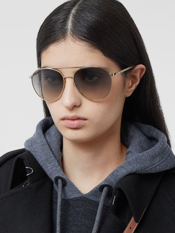 Pilot Sunglasses in Brown - Women | Burberry United Kingdom - cell image 2