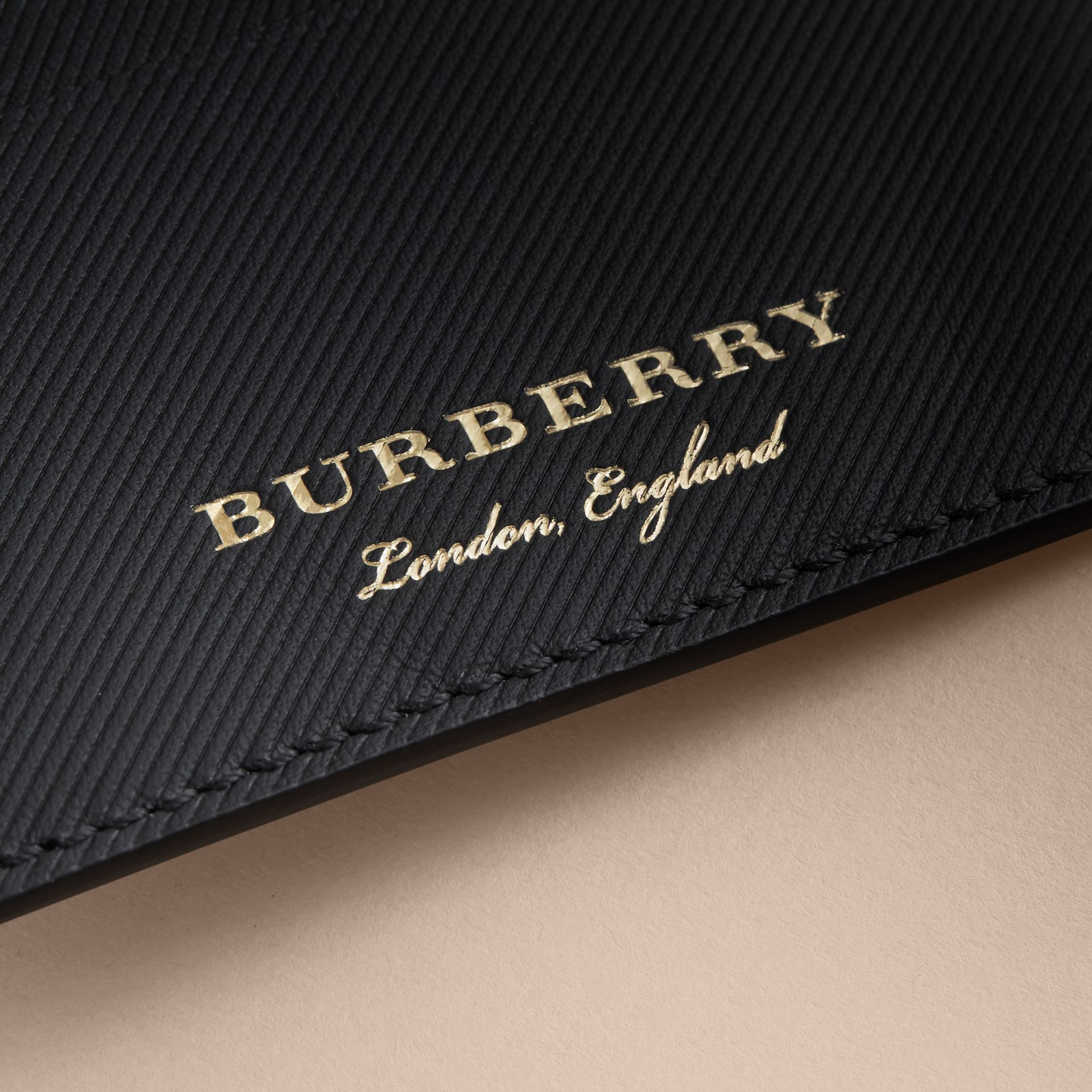 Trench Leather Card Case in Black - Men | Burberry - gallery image 2