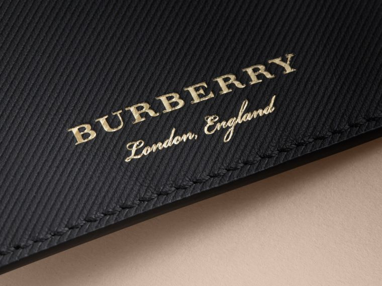 Trench Leather Card Case in Black - Men | Burberry - cell image 1