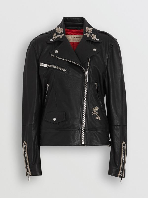 Bullion Floral Lambskin Biker Jacket in Black - Women | Burberry - cell image 3