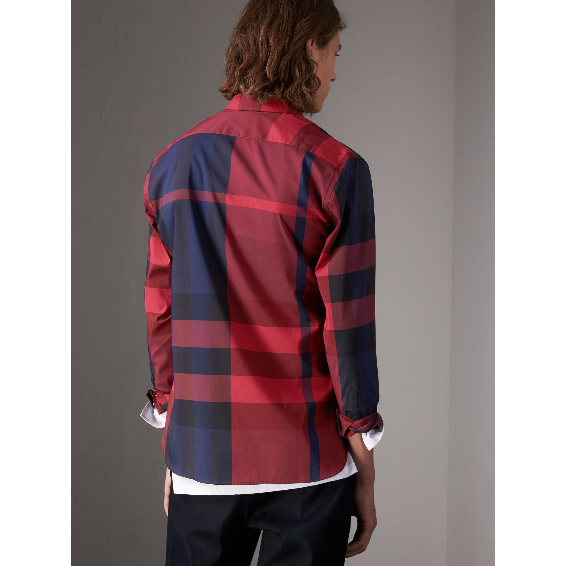 Button-down Collar Check Stretch Cotton Blend Shirt in Bright Red - Men | Burberry United Kingdom - gallery image 3