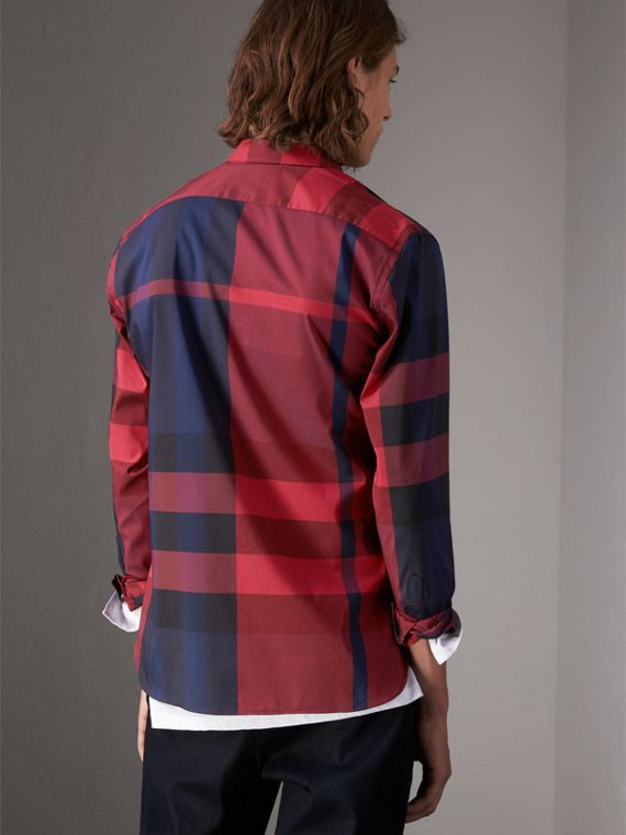 Button-down Collar Check Stretch Cotton Blend Shirt in Bright Red - Men | Burberry - cell image 2