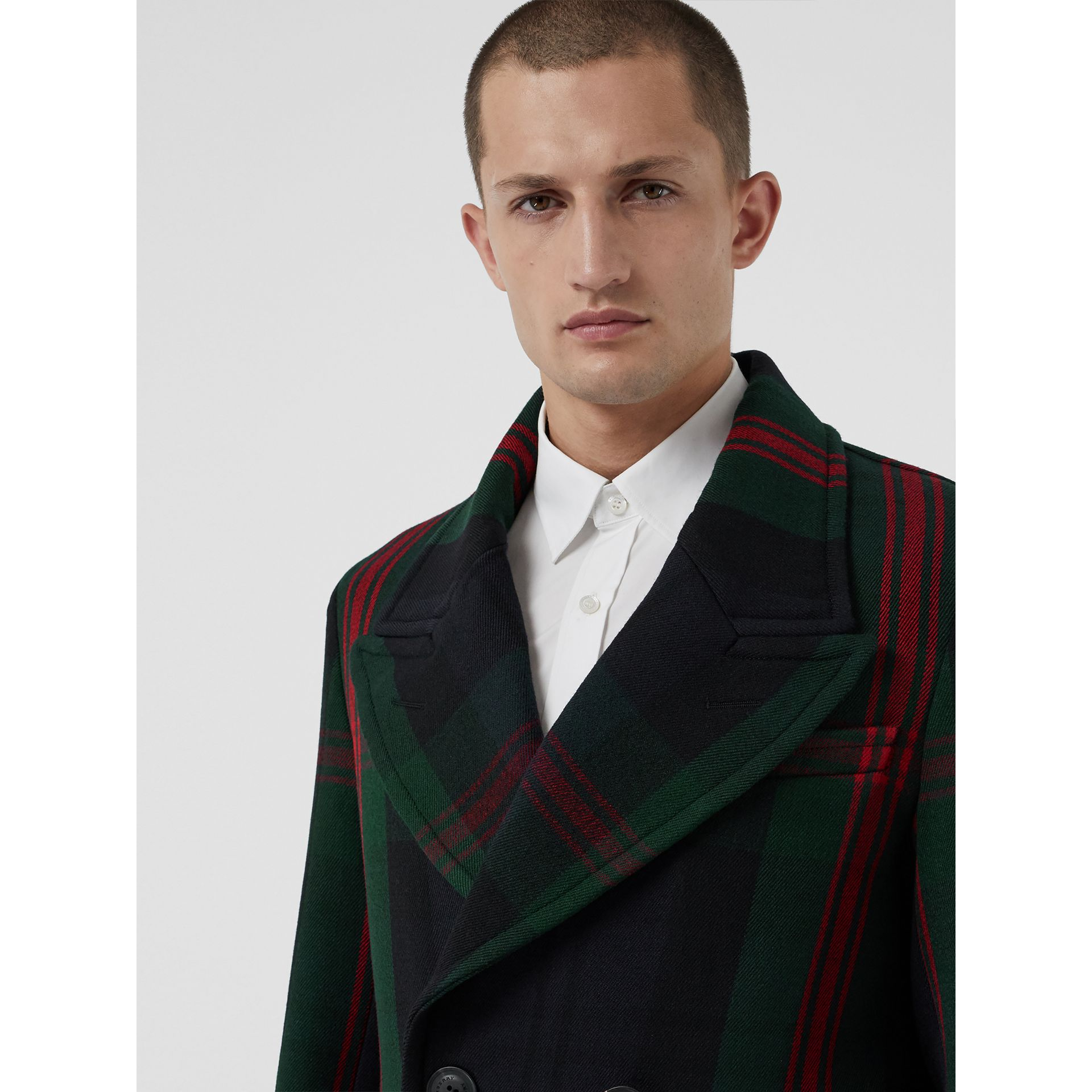 Tartan Wool Mohair Blend Tailored Coat in Navy Check - Men | Burberry - gallery image 1