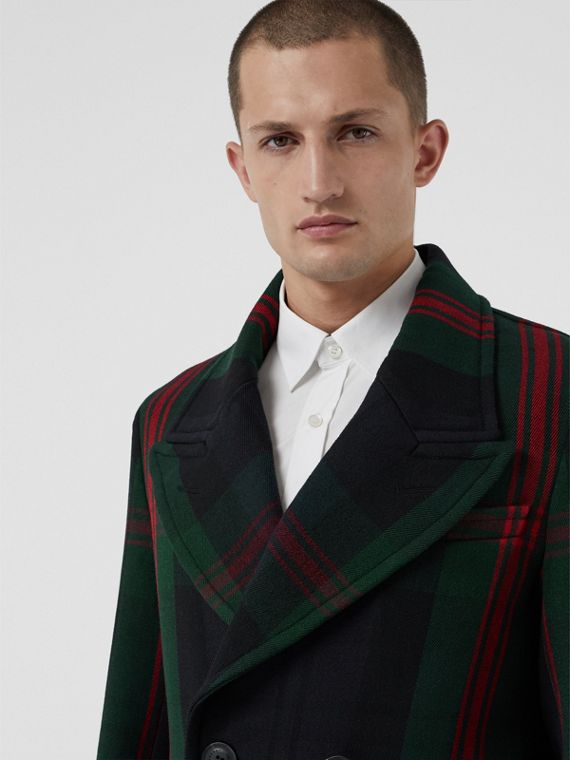 Tartan Wool Mohair Blend Tailored Coat in Navy Check