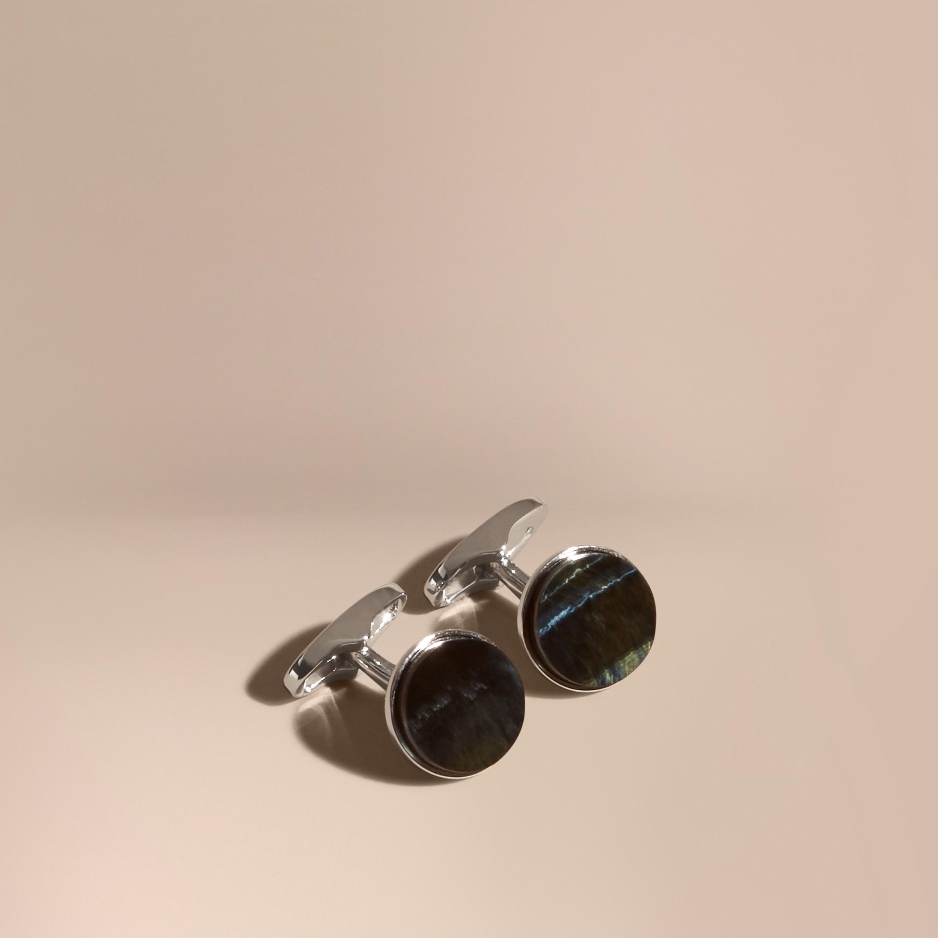 Œil de tigre bleu Boutons de manchette ronds avec pierres en œil de tigre Bleu - photo de la galerie 1