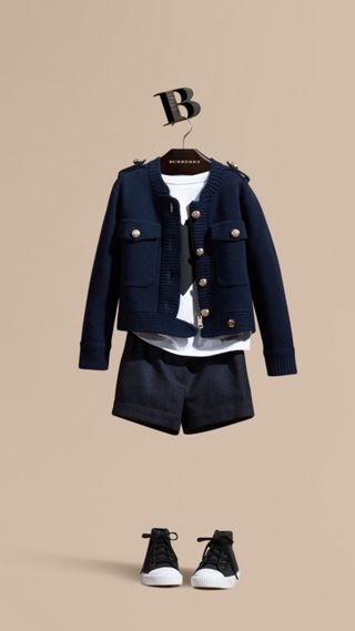 Wool Cashmere Military Knitted Jacket
