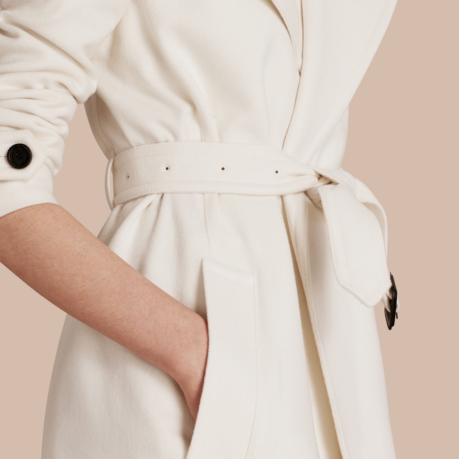 White Cashmere Wrap Trench Coat White - gallery image 6