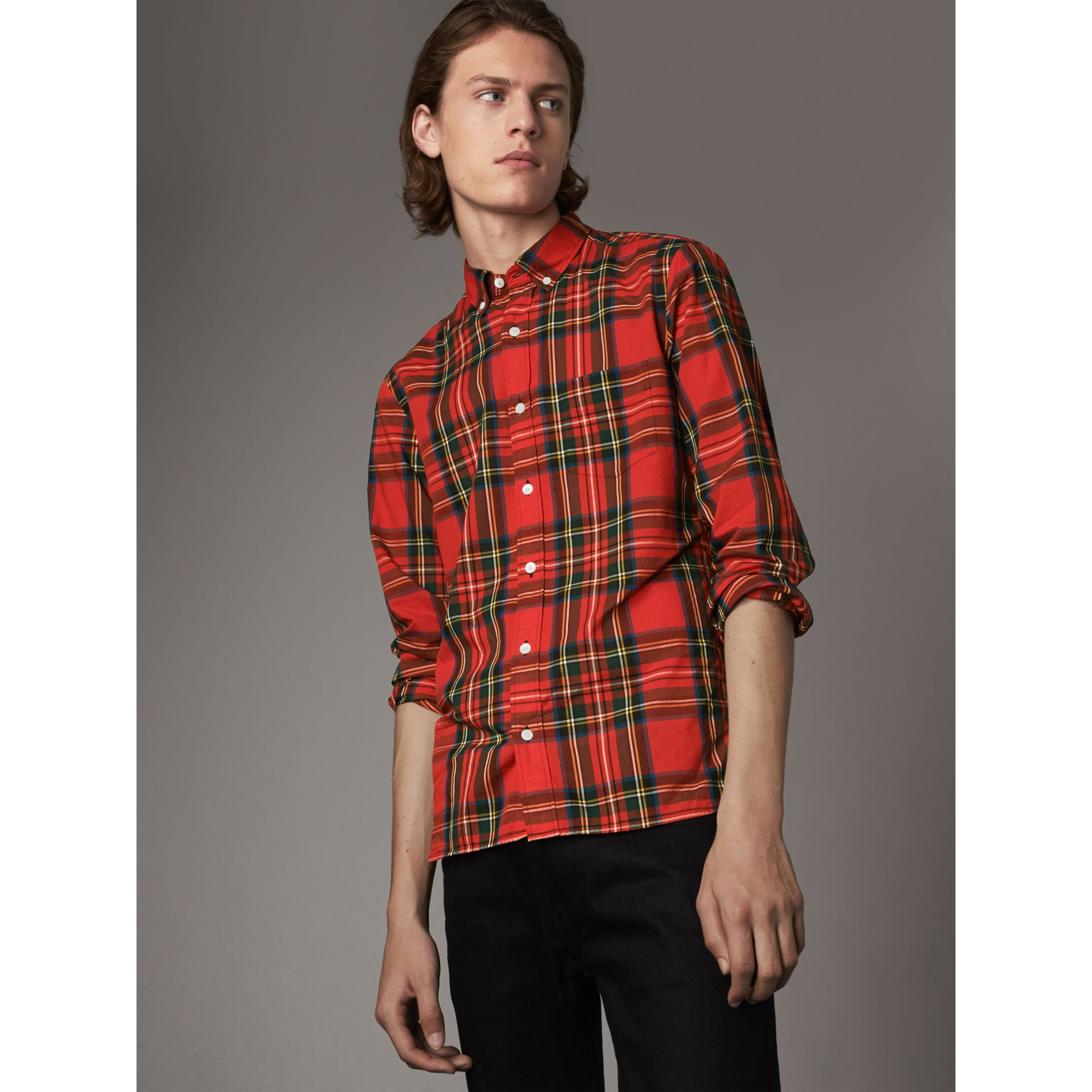 Tartan Cotton Button-down Collar Shirt in Bright Red - Men | Burberry United Kingdom - gallery image 1
