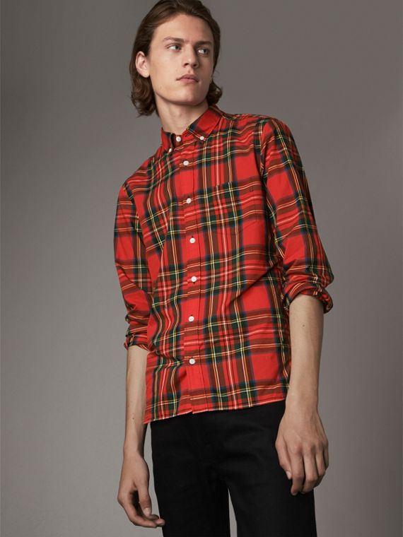 Tartan Cotton Button-down Collar Shirt in Bright Red