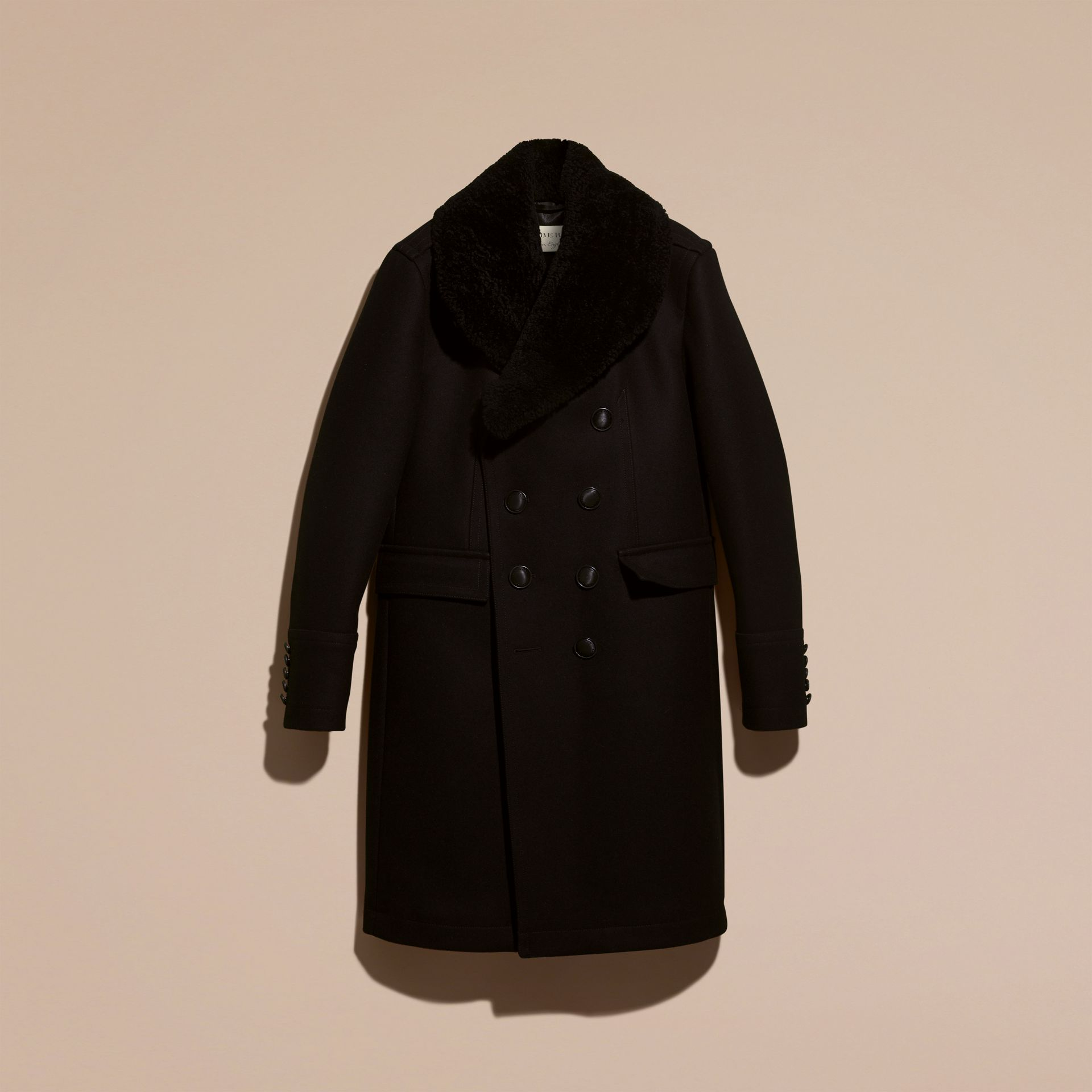 Black Technical Wool Greatcoat with Detachable Shearling Collar - gallery image 4