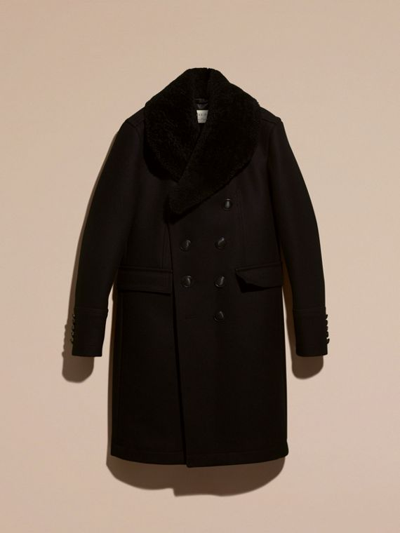 Black Technical Wool Greatcoat with Detachable Shearling Collar - cell image 3