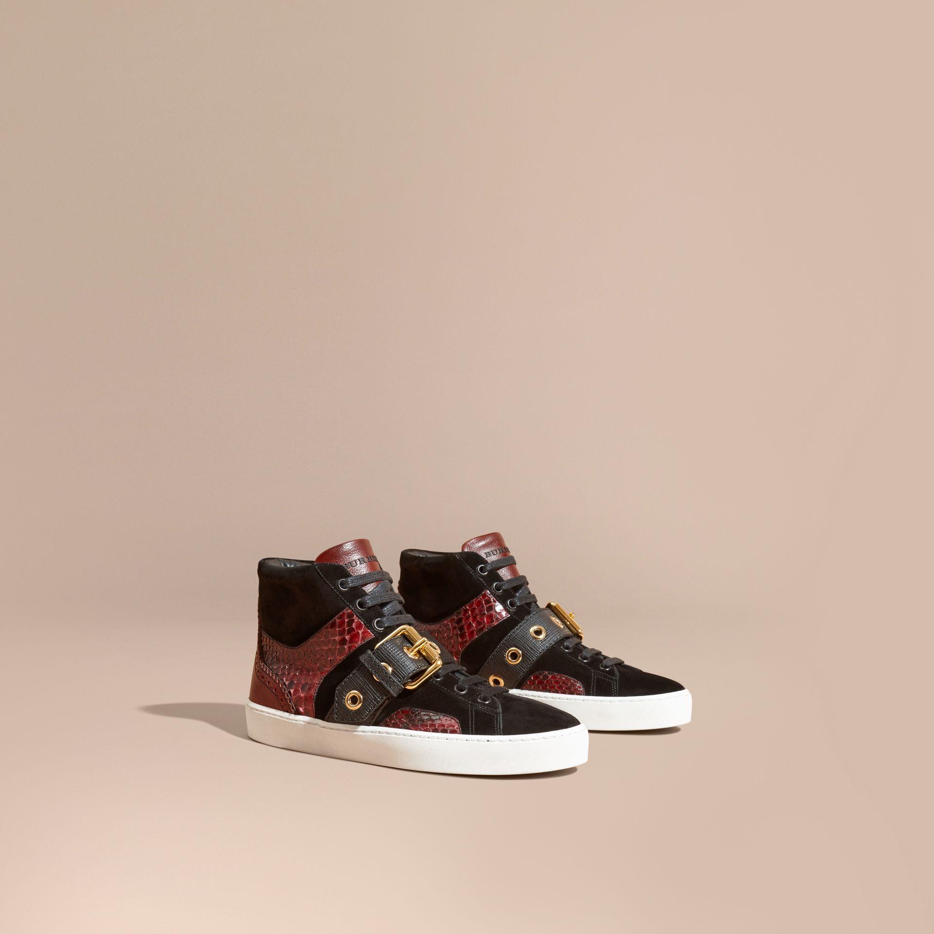 Buckle Detail Leather and Snakeskin High-top Trainers in Bordeaux - gallery image 1