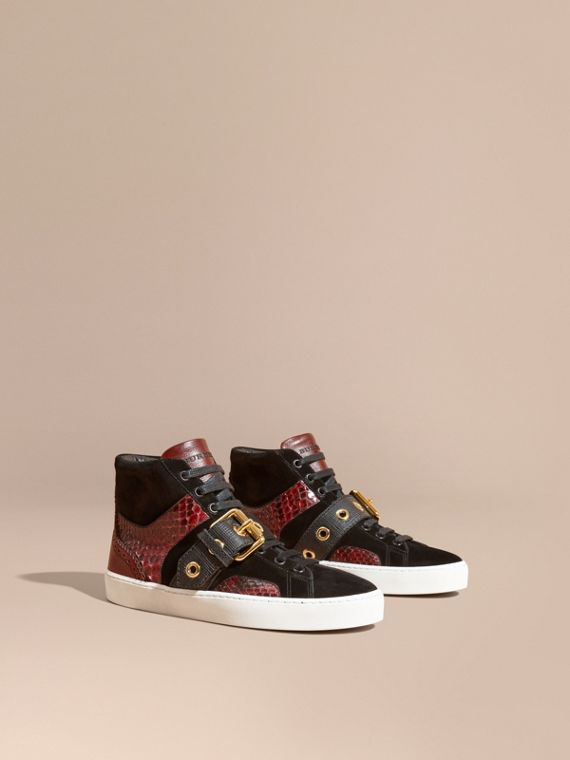 Buckle Detail Leather and Snakeskin High-top Trainers Bordeaux