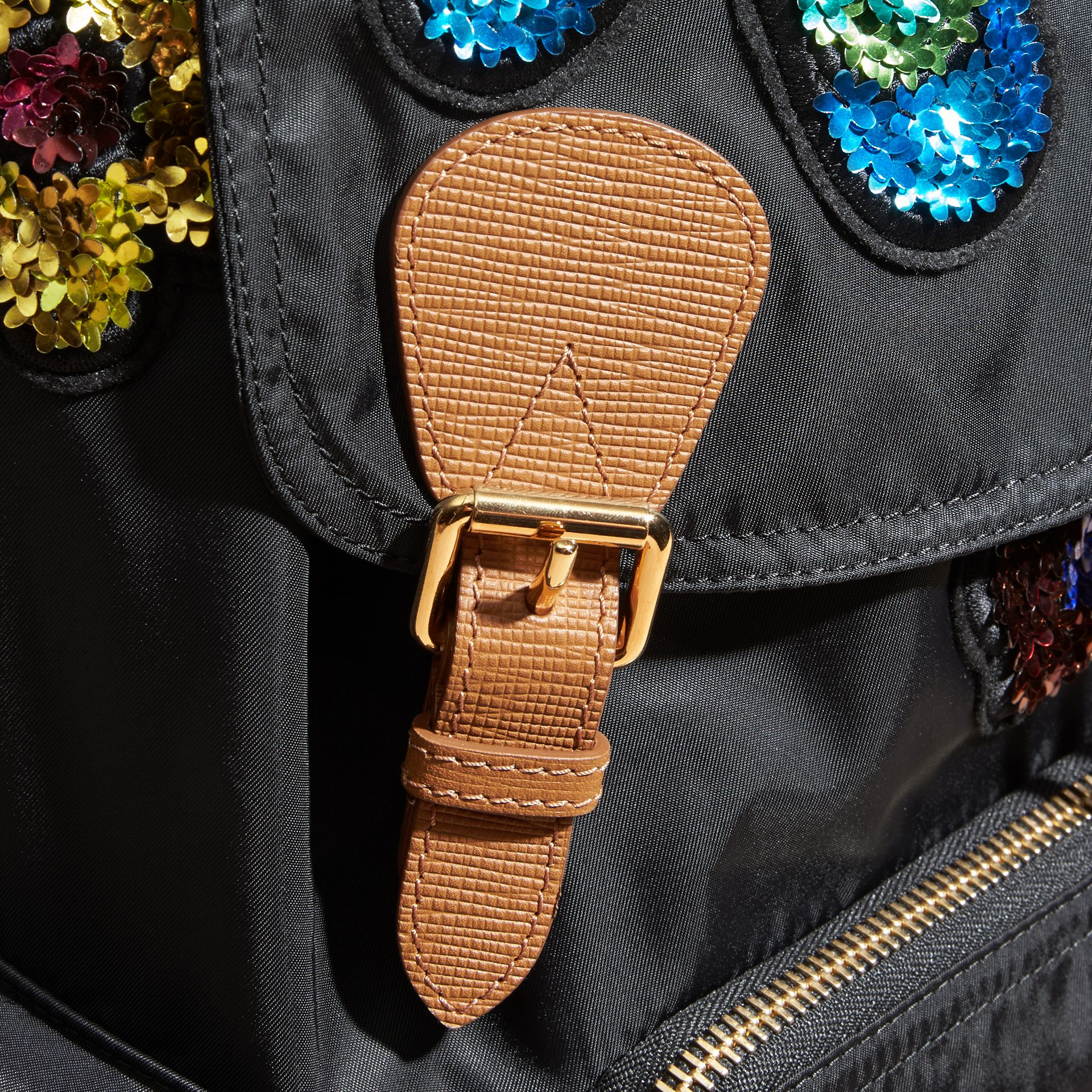 Black The Large Rucksack in Technical Nylon with Sequinned Flowers - gallery image 2