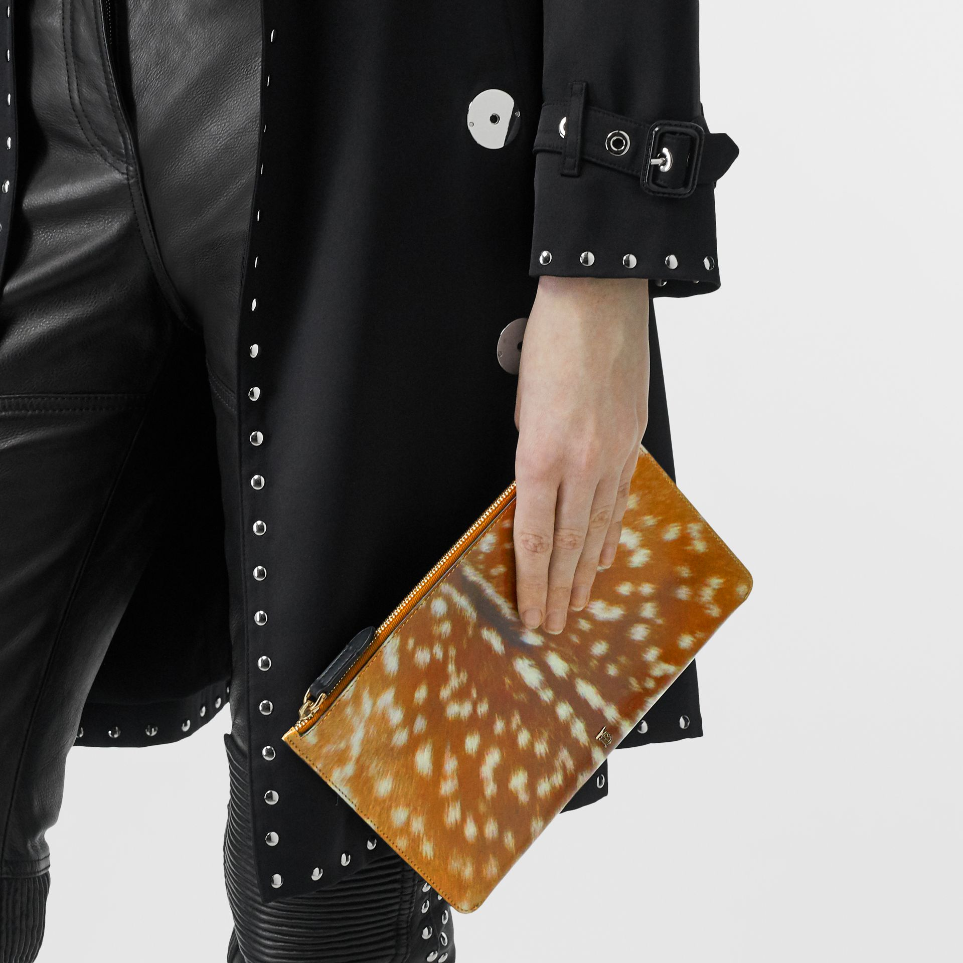 Deer Print Leather Zip Pouch in Malt Brown | Burberry Singapore - gallery image 2
