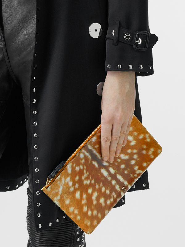 Deer Print Leather Zip Pouch in Malt Brown | Burberry Singapore - cell image 2