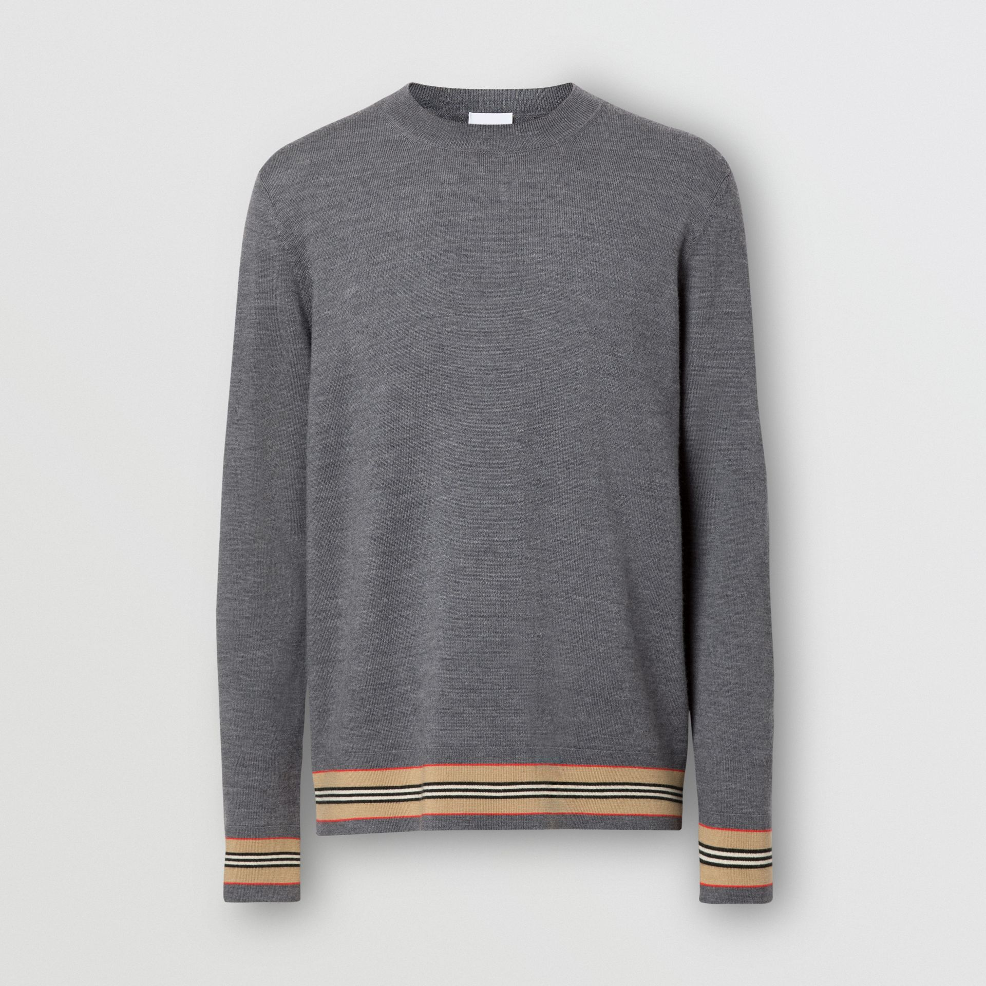 Icon Stripe Detail Merino Wool Sweater in Dark Grey Melange - Men | Burberry Australia - gallery image 3