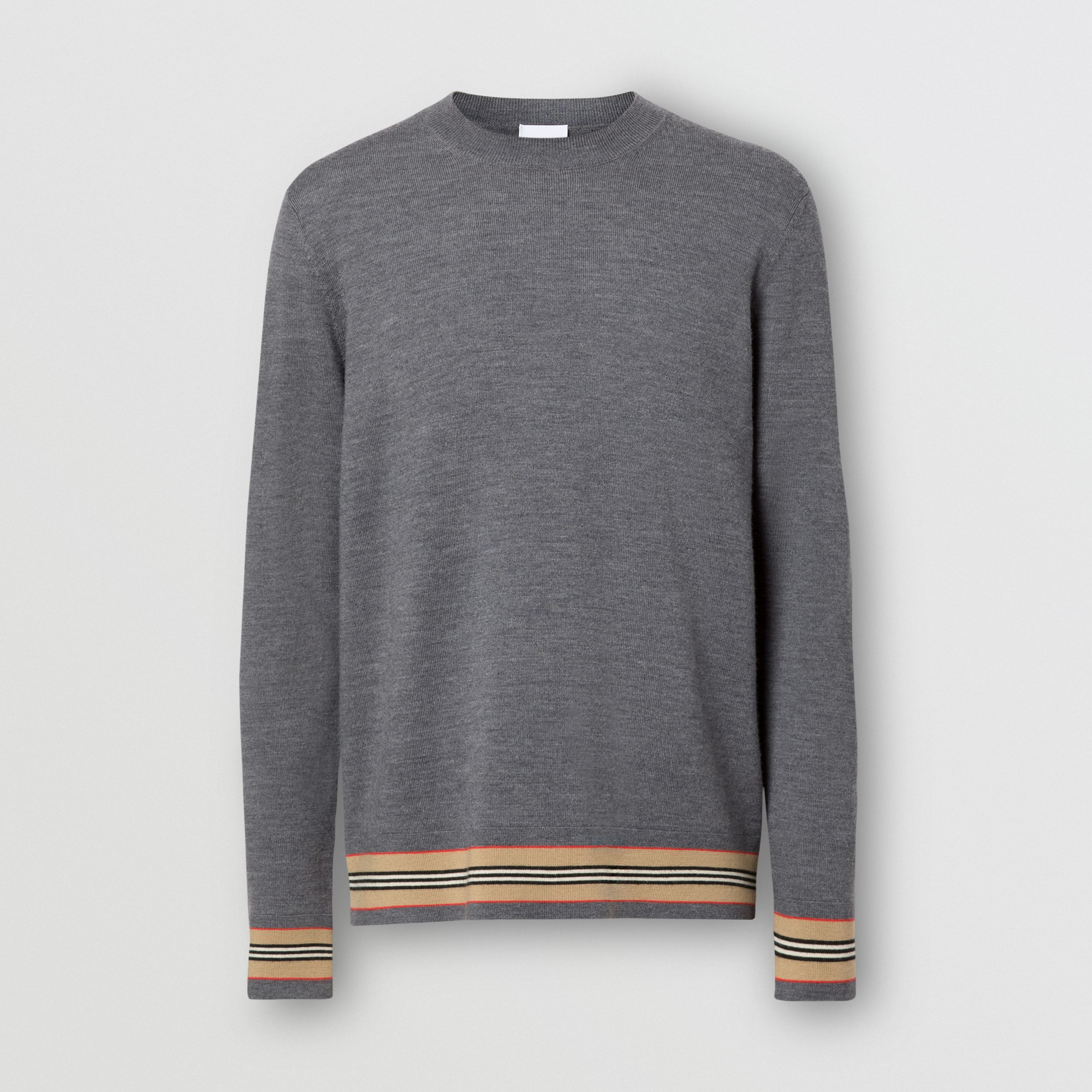 Icon Stripe Detail Merino Wool Sweater in Dark Grey Melange - Men | Burberry United States - 4