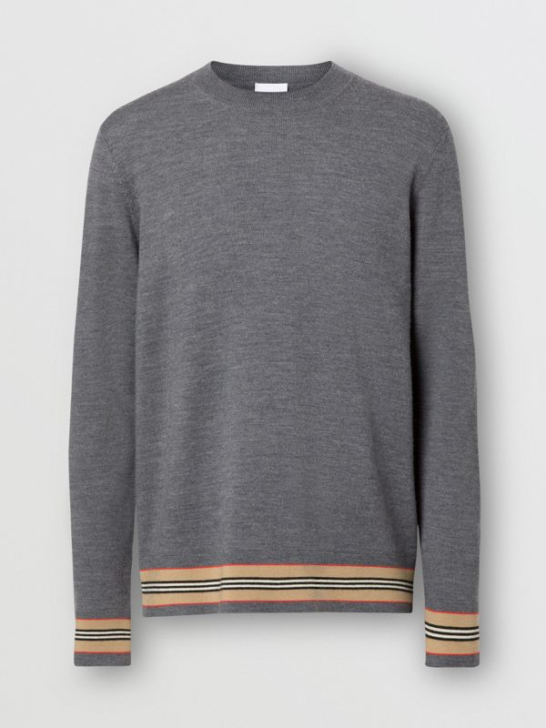 Icon Stripe Detail Merino Wool Sweater in Dark Grey Melange - Men | Burberry - cell image 3