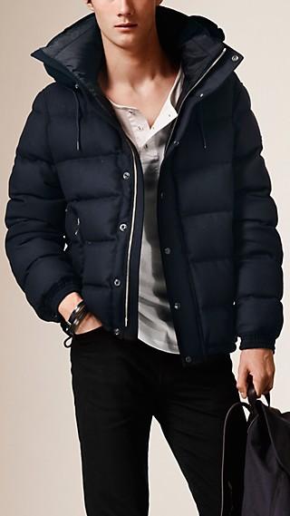Veste en flanelle de laine rembourrée en duvet