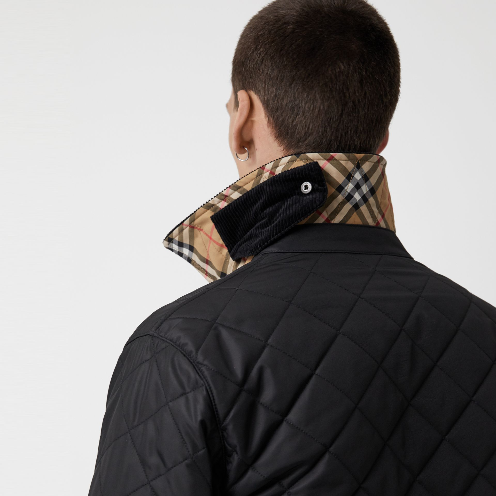 Diamond Quilted Thermoregulated Barn Jacket in Black - Men | Burberry United Kingdom - gallery image 4
