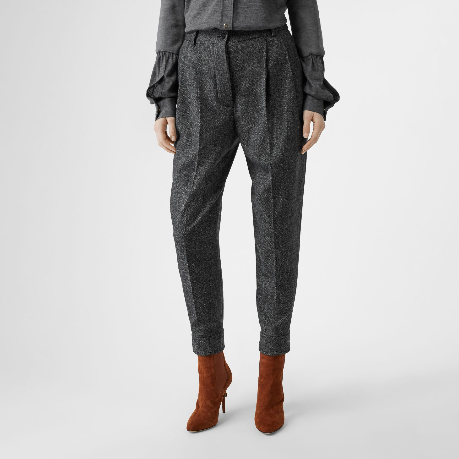 Belt Detail Wool Cashmere Tweed Tailored Trousers in Black Melange - Women | Burberry - gallery image 5